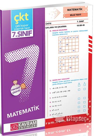 7 Sınıf Matematik Yaprak Test Kavram Yayınları 9786053720690